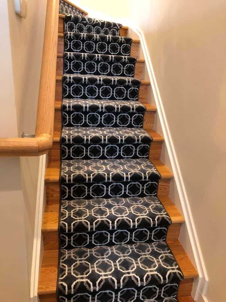 Black & White Patterned Runner for Wooden Stairs Near Hillsborough and Princeton, New Jersey (NJ)